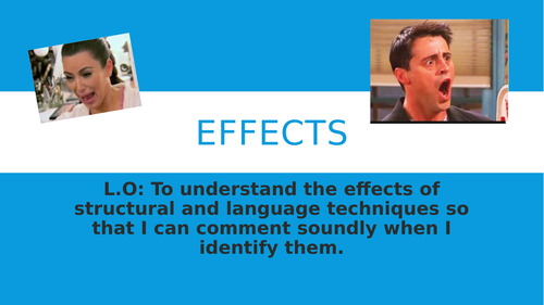 Clear explanation of EFFECT of language device (AO2 focus on AQA GCSE Analysis)