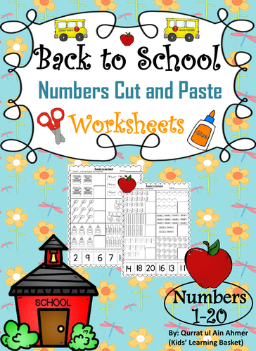 Back to School Themed Numbers Cut&Pastes (1-20):