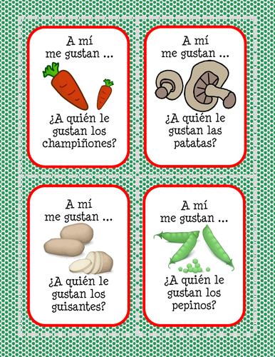 La comida - ¿A quien le gusta(n)...? - Verduras - Card Game
