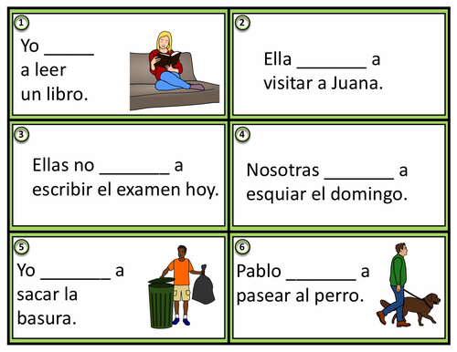 Spanish Task Cards: Ir + a + Infinitive (Conversational Future Tense)