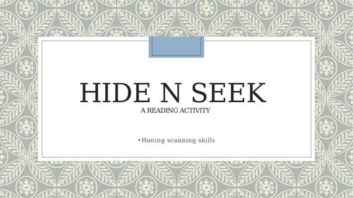 Hide n Seek - A reading activity using the newspaper !