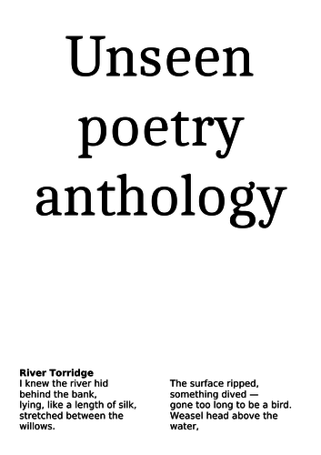 Unseen poetry anthology 2