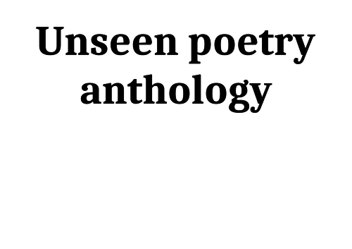 Unseen poems 4- paired unseen poems