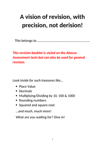 Year 5 Maths big revision pack