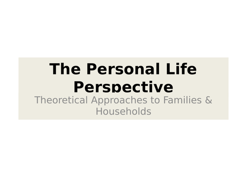 Personal Life Perspective PPT, documentary & questions
