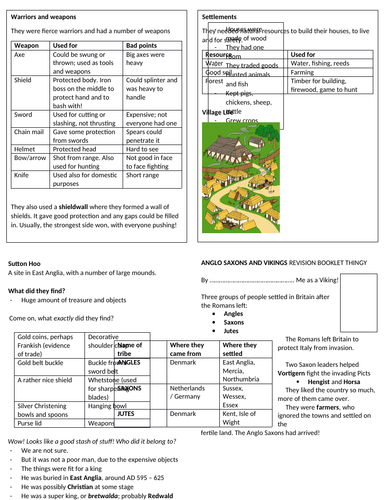 Anglo-Saxon and Viking revision booklet