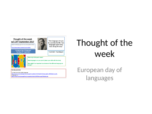Thought of the week European Day of Languages