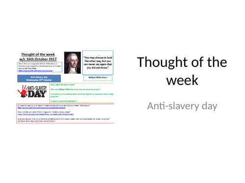 Thought of the week Anti-slavery day
