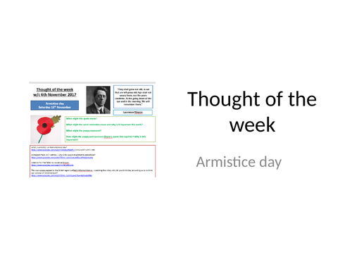 Thought of the week Armistice Day