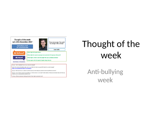 Thought of the week Anti-bullying week