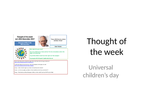 Thought of the week Universal Children's day