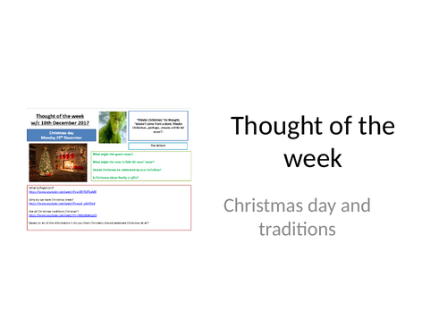 Thought of the week Christmas day and origins of traditions