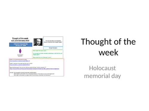 Thought of the week Holocaust Memorial Day