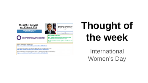 Thought of the week International Women's day