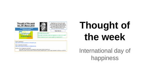 Thought of the week International Day of Happiness