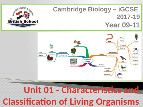 iGCSE Biology - Unit 01 - Characteristics and Classification of Living  Organisms - Delivery Material
