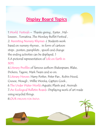 Display Board Topics