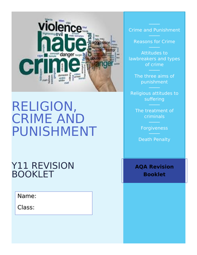 GCSE AQA RE Religion, Crime and Punishment Revision and Activity Booklet