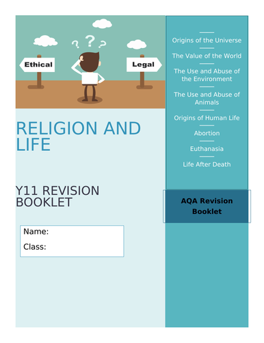 GCSE AQA RE Religion and Life Revision and Activity Booklet