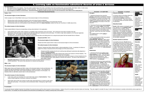 GCSE Sociology - Crime and Deviance revision sheets