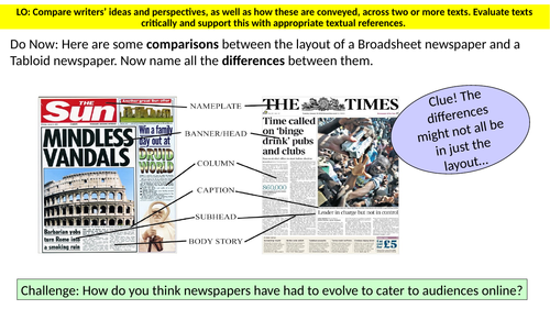 Comparing tabloids and broadsheets (Section B, Paper 2, English Language AQA)