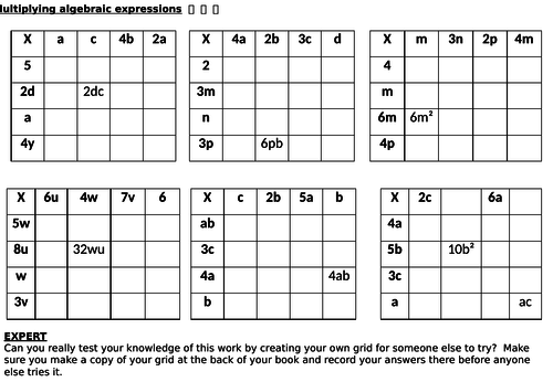 Multiplying algebraic terms practice