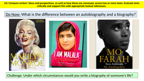 Identifying features of an Autobiography and Comparing Extracts