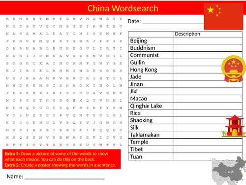 China Country Wordsearch Sheet Starter Activity Keywords Geography Countries