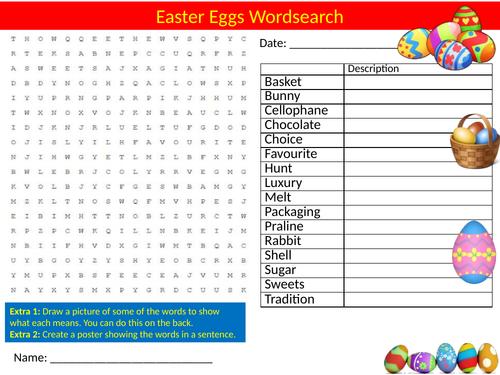 Easter Eggs Wordsearch Sheet Starter Activity Keywords Religious Studies RE Education