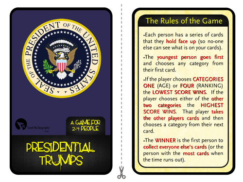 US Presidents Trumps Game - Learn about the US Presidents with our fun and exciting game!