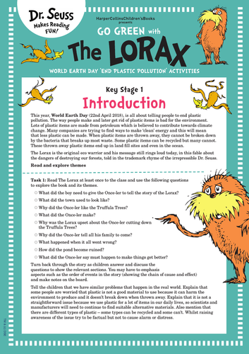World Earth Day | The Lorax | Dr. Seuss