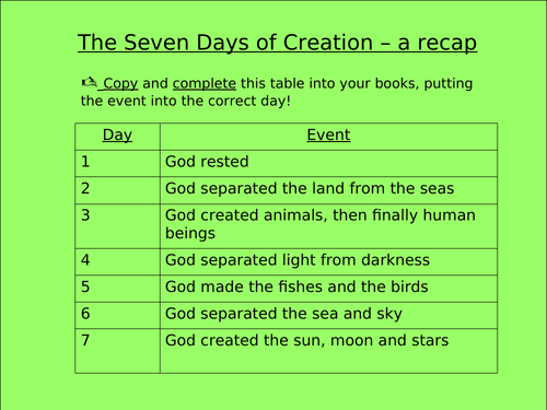 Genesis - Adam and Eve Creation story - 2 lessons