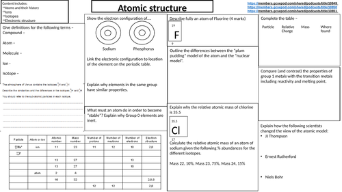 AQA chemistry triple/trilogy Paper 1 and 2 revision sheets with answers