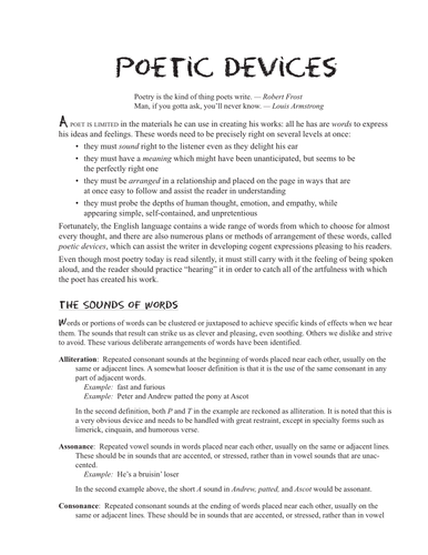 Poetic devices revision / pre-reading