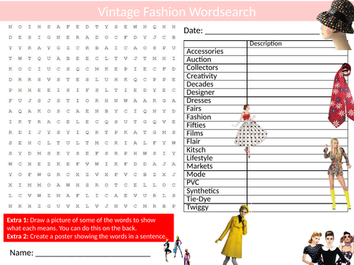 Vintage Fashion Wordsearch Sheet Starter Activity Keywords Cover History Culture