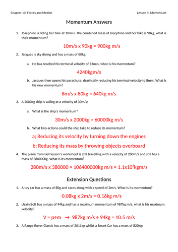 Momentum Worksheet with Answers