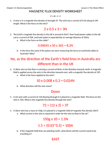 Magnetic Flux Density Worksheet with Answers by jwansell - Teaching ...