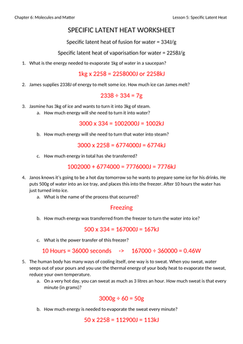 Specific Latent Heat Worksheet with Answers