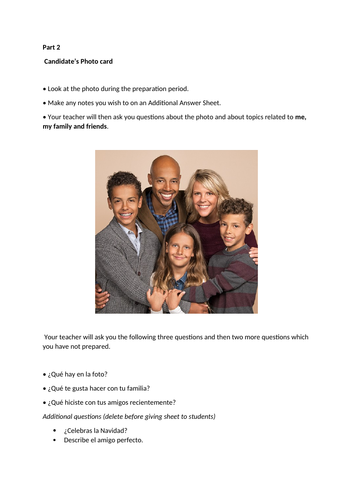 Spanish Photo Card Practice - Family