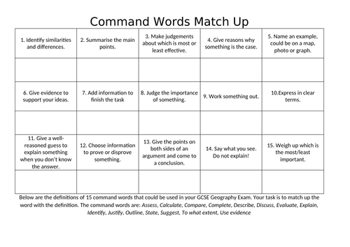 Command Word Match Up Task for AQA A GCSE Geography