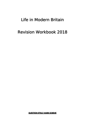AQA 9-1 Citizenship: REVISION: Student work book for Life in Modern Britain