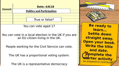 AQA 9-1 Citizenship : Politics and Participation: Revision Lesson FPTP/ Elections/ Voting