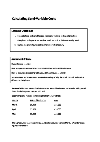 AAT Level 3 Costing - Semi-Variable Costs - High Low Method Question and Answers