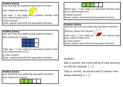 Equivalent fractions (1), Summer Block 1, Year 3