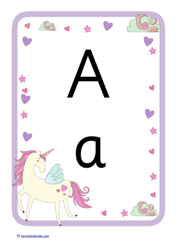 Unicorn A4 Poster showing Alphabet Upper & Lower Case
