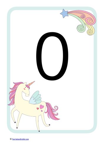 Unicorn number posters 0-20 A4 size