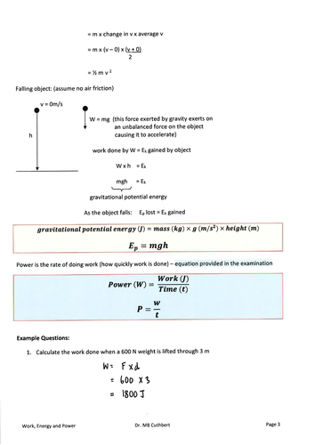 2018 Edexcel IGCSE Physics Work, Energy & Power Notes and Resources