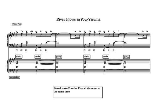 River Flows In You Duet For Piano By Lueyq Teaching Resources Tes