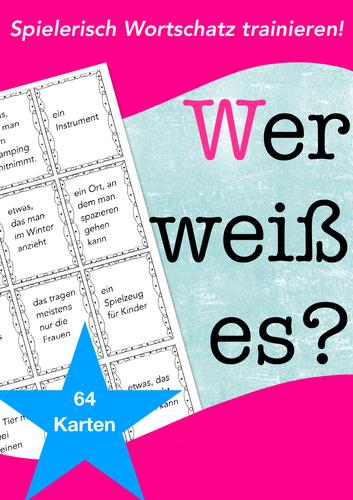 German WORTSCHATZ Spiel /game: guess a word quickly, DAF, Deutsch lernen