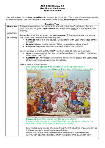 AQA GCSE History Health and the People QUESTION GUIDE